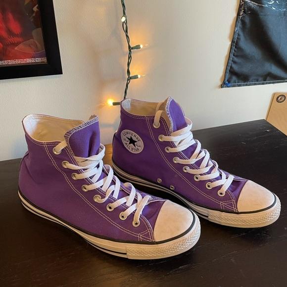 Purple converse high tops